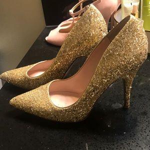 "Kate Spade ""Licorice Too"" Gold Glitter Pump Heel"